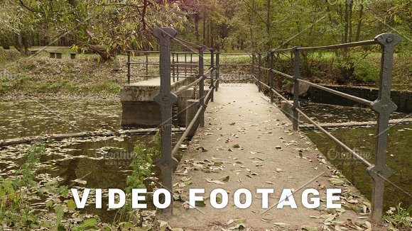 Small Concrete Bridge In The Park Autumn Daytime Smooth Dolly Shot