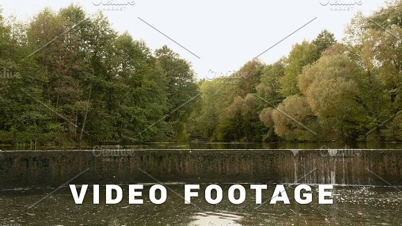 Backwater With Dried Waterfall Autumn Daytime Smooth Dolly Shot