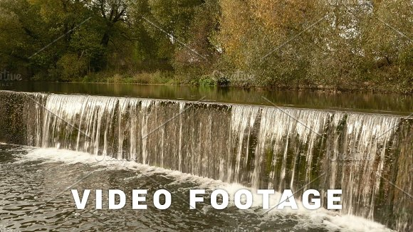 Waterfall Cascade Autumn Daytime Smooth Dolly Shot