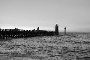 People in Capbreton pier