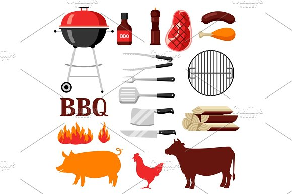 Bbq Set Of Grill Objects And Icons