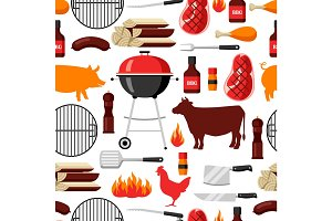 Bbq seamless pattern with grill objects and icons