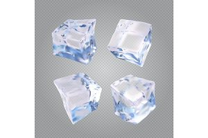 Set of four transparent ice cubes