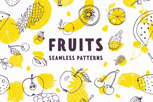 Fruits patterns set