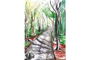 Watercolor autumn park landscape