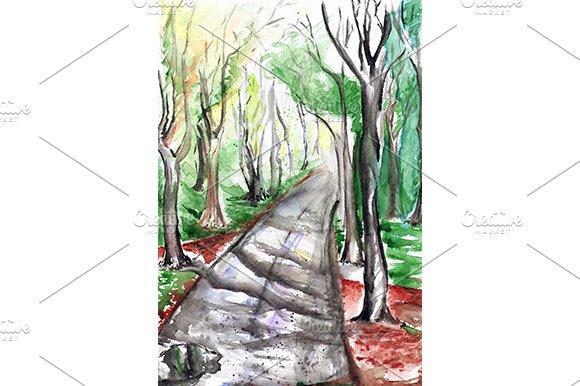 Watercolor Autumn Park Landscape