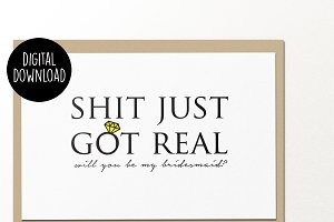 Bridesmaid wedding printable card