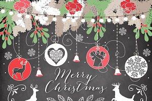 Vector Chalkboard/rustic Christmas