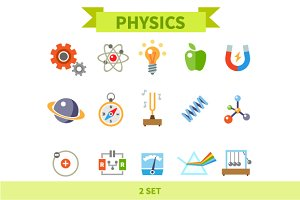 Physics Flat Icon Set