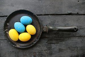 Colored Easter eggs. Festive decoration.