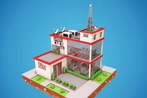 Cartoon Office Low Poly 3D Model