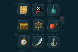 Pirates flat icon set