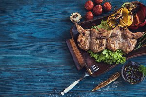Grilled quail meat