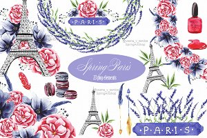 Spring Paris Watercolor clipart