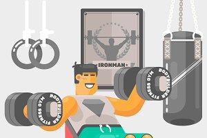 Strong bodybilder sportsmen