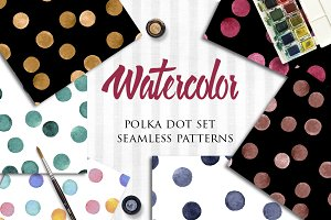 Watercolor polka dot patterns set