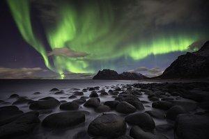 Beautiful aurora over the Lofoten is
