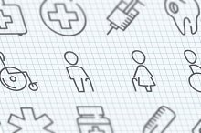 Vector thin line medicine icons set