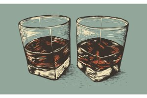 Two glasses with rum