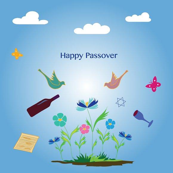 Happy passover card illustrations creative market m4hsunfo