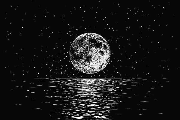 moon reflecting in a sea