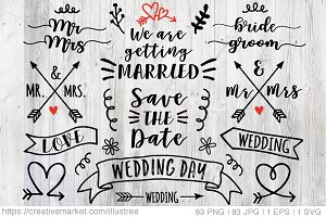 93 wedding overlays, vector set
