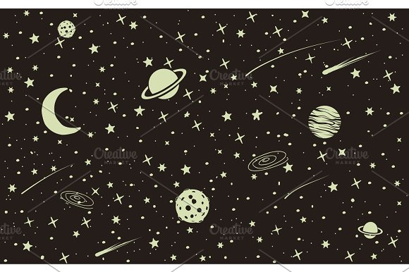 4df5b76ad9e51d Vintage space background ~ Illustrations ~ Creative Market