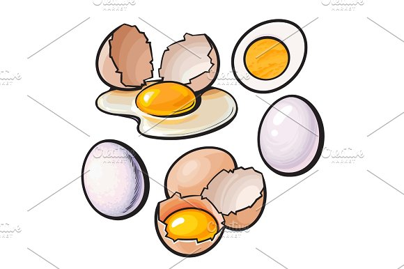 Whole And Cracked Broken Shell Chicken Egg Composition