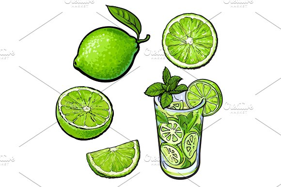 Whole Half Quarter Lime And Glass Of Lemonade With Ice