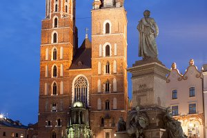 Krakow Old Town at Night in Poland