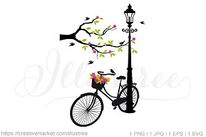 Vintage bicycle with flowers, vector