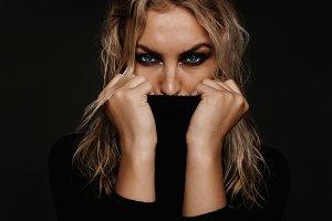 Young woman with smokey eye