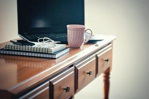 Desk, laptop, coffee