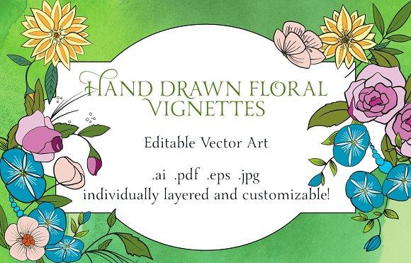 Vector Floral Vignettes