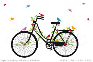 Bicycle with flowers, vector