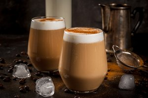 Latte with milk, ice and cinnamon