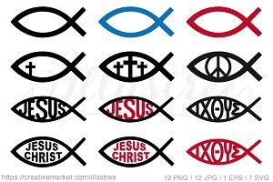 Jesus Christ symbols, vector set
