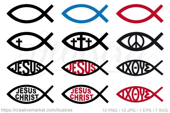 Jesus Christ Symbols Vector Set Icons Creative Market