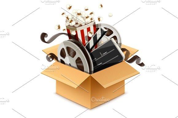 Full Cardboard Box Filled Cinema