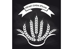 Wheat branches on blackboard logo