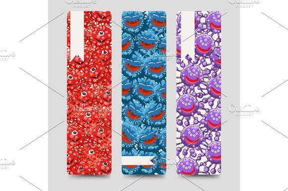 Bookmarks Collection With Colorful Microbes
