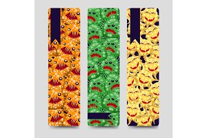 Bookmarks set with colorful monsters