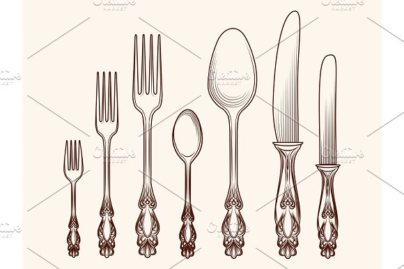 Vintage Kitchen Cutlery Objects Sketch