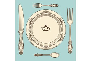 Vintage cutlery and plate illustration