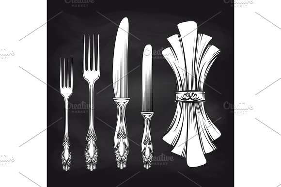 Cutlery and doily sketch chalkboard poster