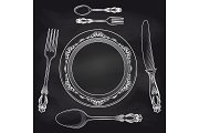 Kitchen blackboard poster with cutlery sketch