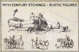 19th Century Etchings Rustic Figures