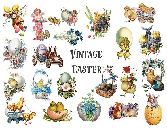 Vintage Easter Clipart in Illustrations