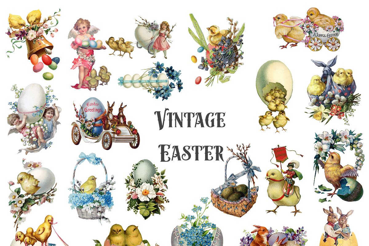 Vintage Easter Clipart in Illustrations - product preview 8