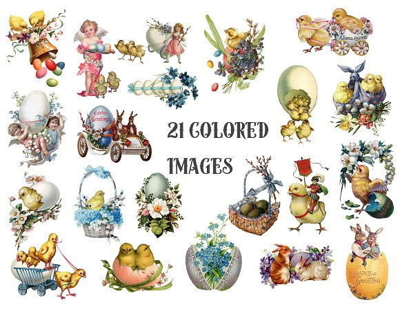 Vintage Easter Clipart in Illustrations - product preview 1